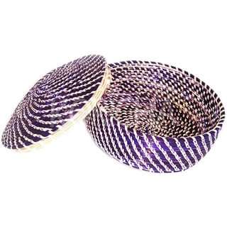 Hand-crafted Purple Wicker Basket (Ethiopia)
