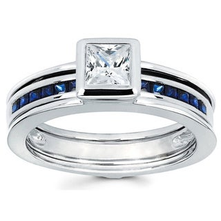 Love Lock 14k White Gold 1/2ct TDW Diamond Bridal Set with Blue Sapphire Band (H-I, I1-I2)