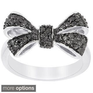 Finesque Sterling Silver Black or White Diamond Accent Bow Ring