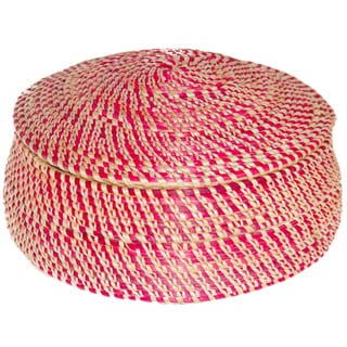 Hand-woven Red Wicker Basket (Ethiopia)