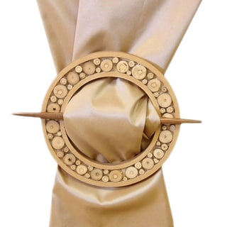 Round Wooden Brooche Curtain Tieback Pair