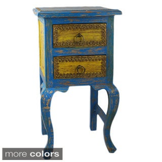 Hand-painted Two Drawer Side Table (India)