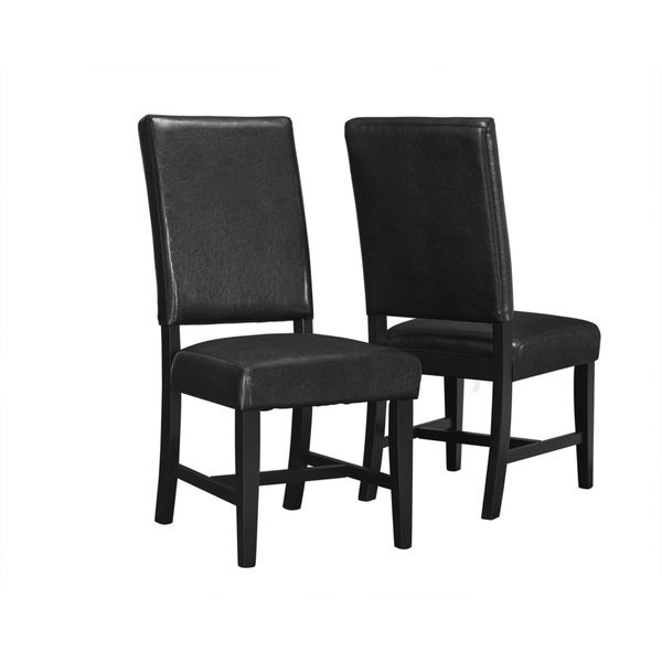 Black Leather-look 40-inch Side Chairs (Set of 2)