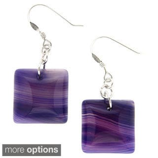 Pearlz Ocean Sterling Silver Purple Banded Agate Earrings