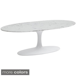 Flower Marble Top Oval Cofee Table