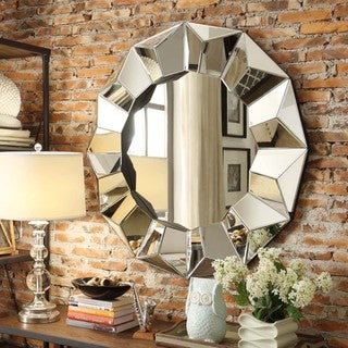 INSPIRE Q Frisco Beveled Round Accent Wall Mirror