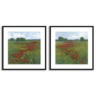 Kim Coulter's 'Red Poppies I' and 'II' Art Two Piece Set