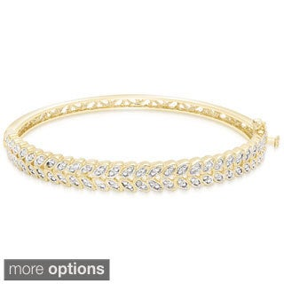 Finesque Gold Overlay Diamond Accent Leaf Design Bangle