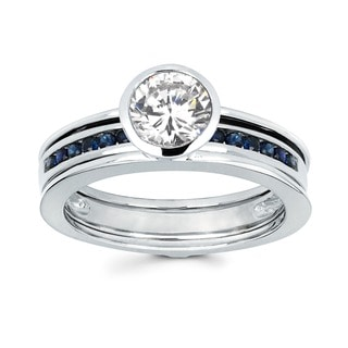 Love Lock Bridal Set -14kt white gold 3/4ct rd bezel set and blue sapphire wed band
