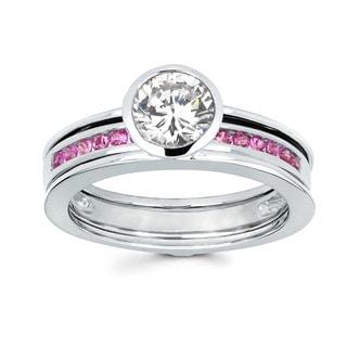 Love Lock 14k White Gold 3/4ct TDW Diamond and Pink Sapphire Bridal Set (H-I, I1-I2)