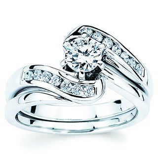 14k White Gold 3/4ct Round-cut Diamond Bridal Ring Set (I-J, I1-I2)