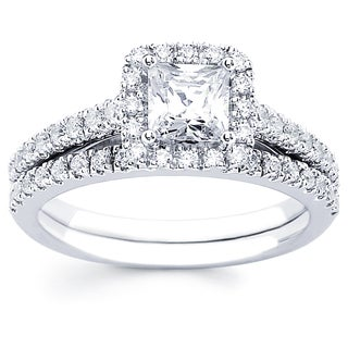 14k White Gold 1 1/3 ct tdw Princess Cut Center with Round Side Diamonds Bridal Set (I-J, I1-I2)