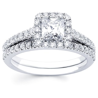14k White Gold 1ct TDW Princess Cut Diamond Bridal Set (I-J)(I1-I2)