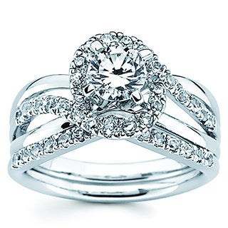 14k White Gold 1 1/6ct TDW Round Diamond Bridal Set (I-J, I1-I2)