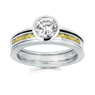 Love Lock 14k White Gold 3/4ct TDW Diamond and Yellow Sapphire Bezel Bridal Set (H-I, I1-I2)