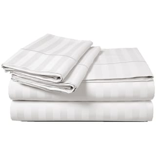 Luxury Egyptian Cotton Sateen 500 Thread Count Deep Pocket Damask Stripe Sheet Set
