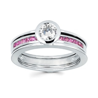 Love Lock 14k White Gold 1/2ct TDW Diamond and Pink Sapphire Contemporary Bridal Set (H-I, I1-I2)