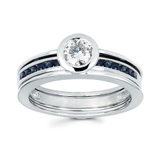 Love Lock 14k White Gold 1/2ct TDW Diamond and Blue Sapphire Contemporary Bridal Set (H-I, I1-I2)