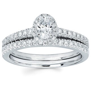 14k White Gold 5/8ct TDW Diamond Halo Bridal Set (I-J, I1-I2)