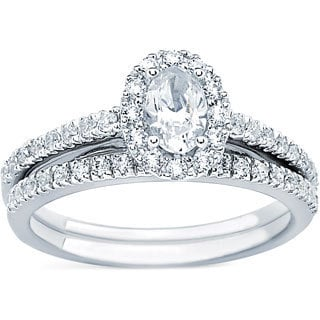 14kt White Gold 1ct TDW Oval Cut Center with Round Side Diamond Bridal Set