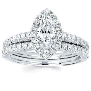14k White Gold 4/5ct TDW Marquise-cut Diamond Bridal Set (I-J, I1-I2)