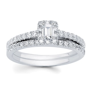 14k White Gold 5/8 ct tdw Emerald Cut Center with Round Side Diamonds Bridal Set