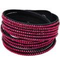 Seville Austrian Crystal Vegan Leather Wrap Bracelet