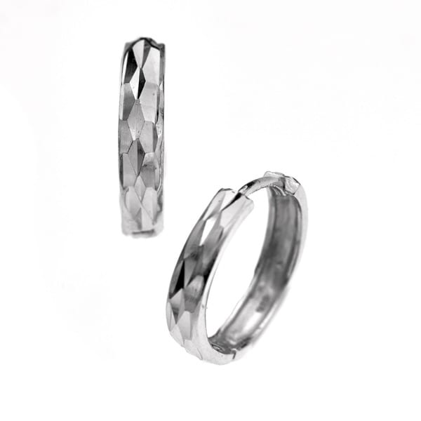 Gioelli Sterling Silver Diamond Cut Hoop Earrings