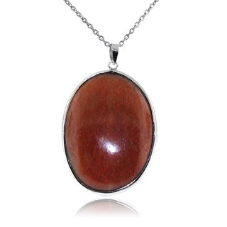 Gioelli Sterling Silver Large Oval Shape Orange Aventurine Pendant Necklace