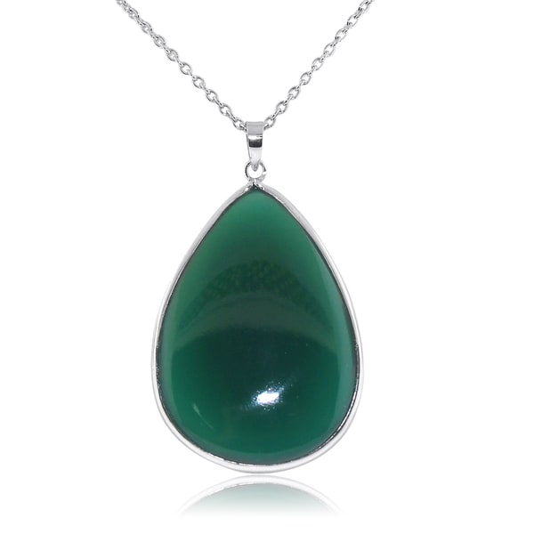 Gioelli Sterling Silver Large Pear Shape Green Onyx Pendant Necklace