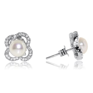 Gioelli Sterling Silver Freshwater Pearl Abstract Stud Earrings