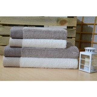 Enchante Dime Rayon from Bamboo/ Turkish Cotton 4-Piece Towel Set
