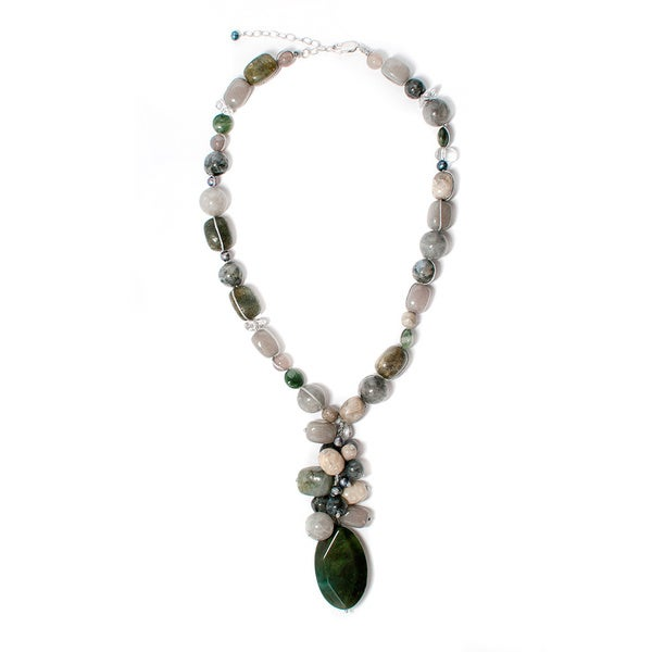 18-inch Green Agate Cluster Necklace