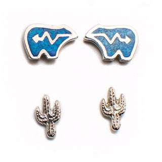Turquoise Bear and Cactus 2-piece Earring Set