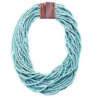 Kele & Co's Turquoise Glass Beaded Necklace with Wood Buckle Closure