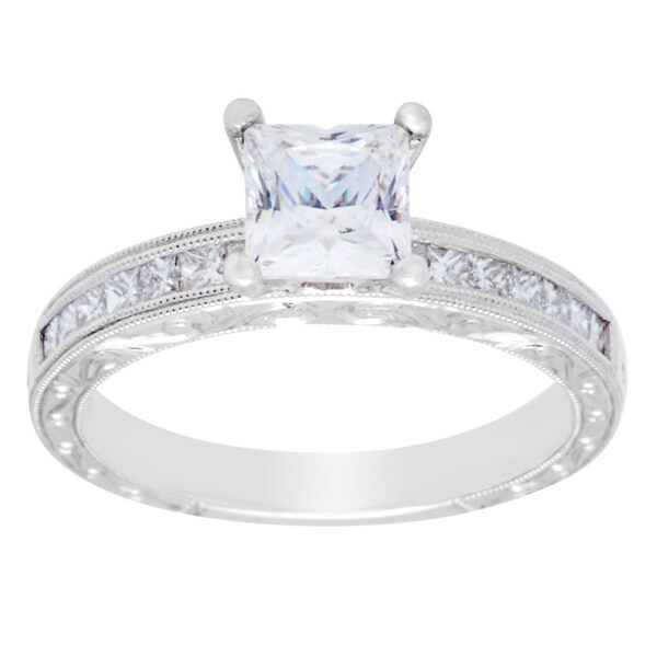 18k White Gold 3/8ct TDW Princess Cubic Zirconia Engagement Ring (G-H, VS2-SI1)