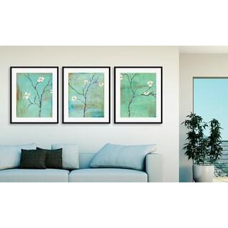 Laura Gunn's 'Dogwood on Turquoise I', 'II' and 'III' Art Three Piece Set