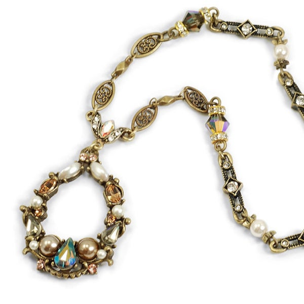 Sweet Romance Vintage Jewel Encrusted Loop Necklace