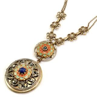 Sweet Romance Western Enamel Lapis Locket Necklace
