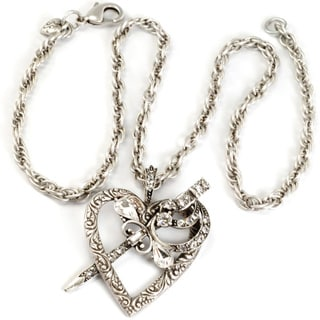 Sweet Romance Silvertone Heart and Dagger Necklace
