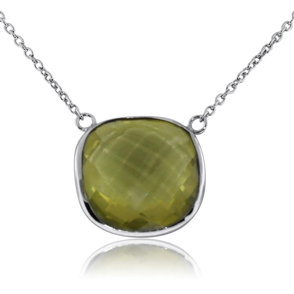 Gioelli Sterling Silver Lemon Quartz Cushion Necklace