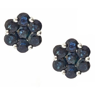 D'yach 14k White Gold Blue Sapphire Round Earrings