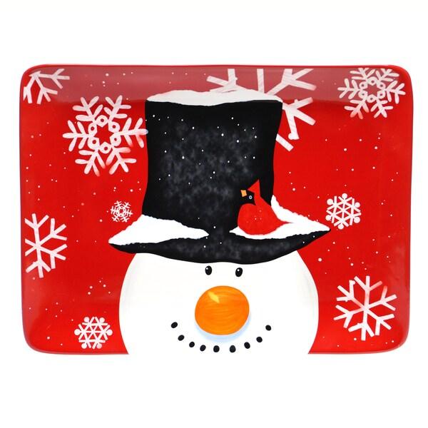 Certified International Top Hat Snowman Rectangular Platter