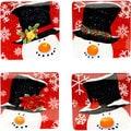Certified International Top Hat Snowman 8.25-inch Dessert Plates