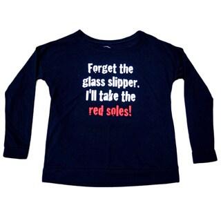 3rd Culture Style 'Red Soles' Ladies Black Long Sleeve Terry Scoop Tee