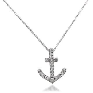 10k White Gold 1/10ct TDW Diamond Nautical Anchor Pendant (H-I, SI1-SI2)