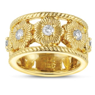 14k Yellow Gold 3/4ct TDW Floral Designed Diamond Band (H-I, I1-I2)