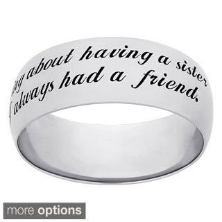 Sweet Sentiments Sterling Silver or Gold Over Sterling Silver 'Sisters' Engraved Ring