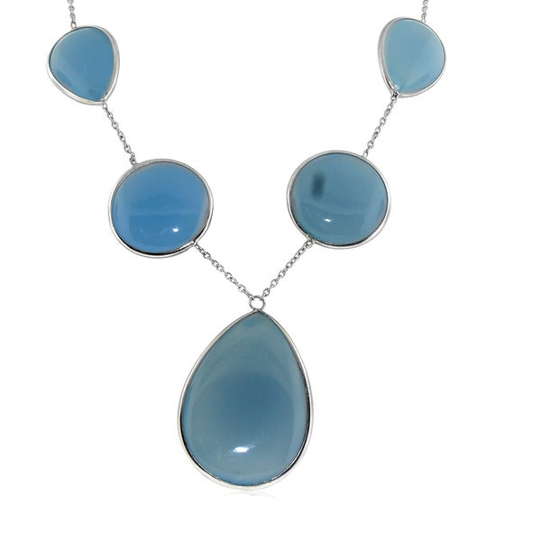 Gioelli Sterling Silver Blue Chalcedony Gemstone Necklace