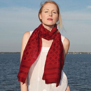 Red Chanderi Scarf (India)